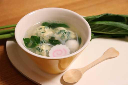 新井郷とう菜と鶏団子の中華風スープ